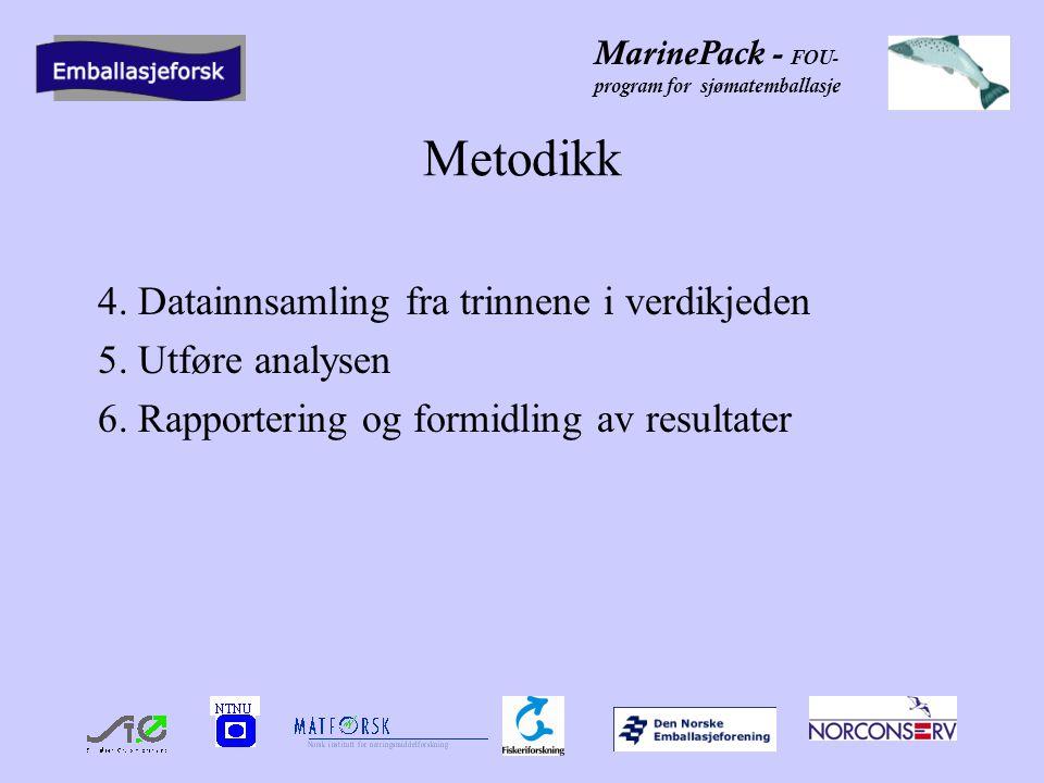 MarinePack - FOU- program for sjømatemballasje Domstein Måløy Fiskeindustri AS 2 besøk med møte og omvisning på Måløy Tett samarbeid med Jan Gjerde i Domstein som fremskaffer data blant de ansatte i bedriften Bruker et LCA dataverktøy i tillegg til å utvikle et eget verktøy til å få frem tall for de parameterne vi ønsker å se på 1 verdikjede for pelagisk fisk 2 verdikjeder for hvitfisk