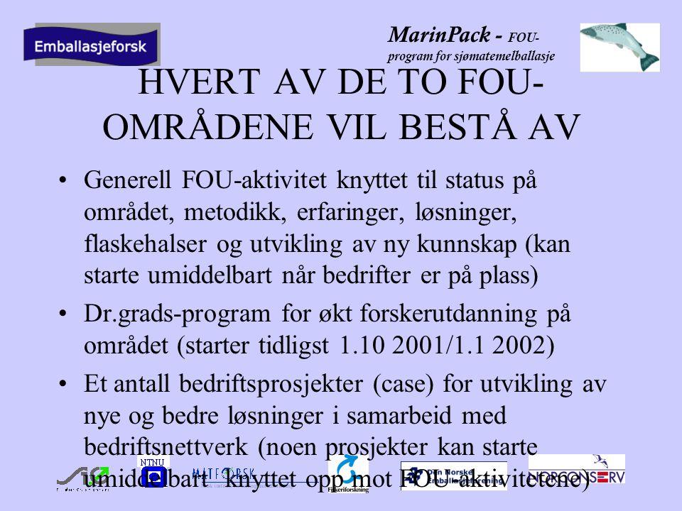 MarinPack - FOU- program for sjømatemelballasje HVERT AV DE TO FOU- OMRÅDENE VIL BESTÅ AV Generell FOU-aktivitet knyttet til status på området, metodikk, erfaringer, løsninger, flaskehalser og utvikling av ny kunnskap (kan starte umiddelbart når bedrifter er på plass) Dr.grads-program for økt forskerutdanning på området (starter tidligst 1.10 2001/1.1 2002) Et antall bedriftsprosjekter (case) for utvikling av nye og bedre løsninger i samarbeid med bedriftsnettverk (noen prosjekter kan starte umiddelbart knyttet opp mot FOU-aktivitetene)