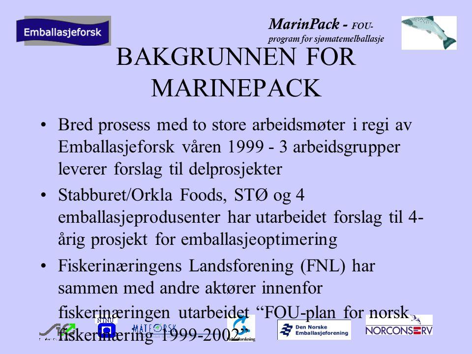 MarinPack - FOU- program for sjømatemelballasje BAKGRUNNEN FOR MARINEPACK Bred prosess med to store arbeidsmøter i regi av Emballasjeforsk våren 1999 - 3 arbeidsgrupper leverer forslag til delprosjekter Stabburet/Orkla Foods, STØ og 4 emballasjeprodusenter har utarbeidet forslag til 4- årig prosjekt for emballasjeoptimering Fiskerinæringens Landsforening (FNL) har sammen med andre aktører innenfor fiskerinæringen utarbeidet FOU-plan for norsk fiskerinæring 1999-2002