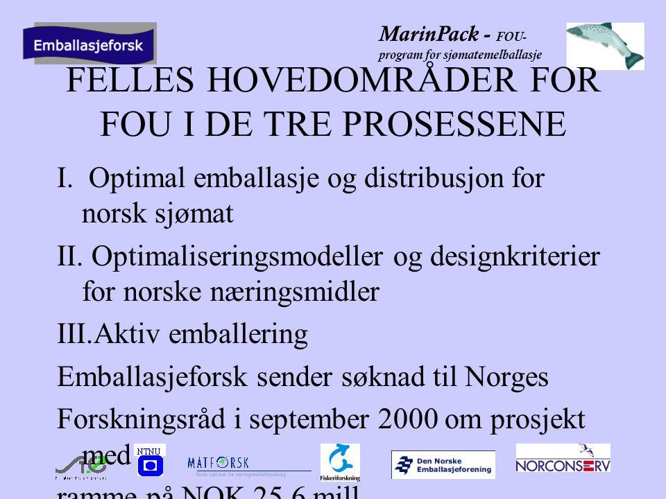 MarinPack - FOU- program for sjømatemelballasje MÅL FOR PROSJEKTET Hovedmålet for prosjektet er å styrke nasjonal og internasjonal konkurransekraft til norsk foredlingsindustri for sjømat og andre næringsmidler og norske emballasjeleverandører, og bidra til økt kompetanseutvikling og forskerutdanning på emballeringsområdet