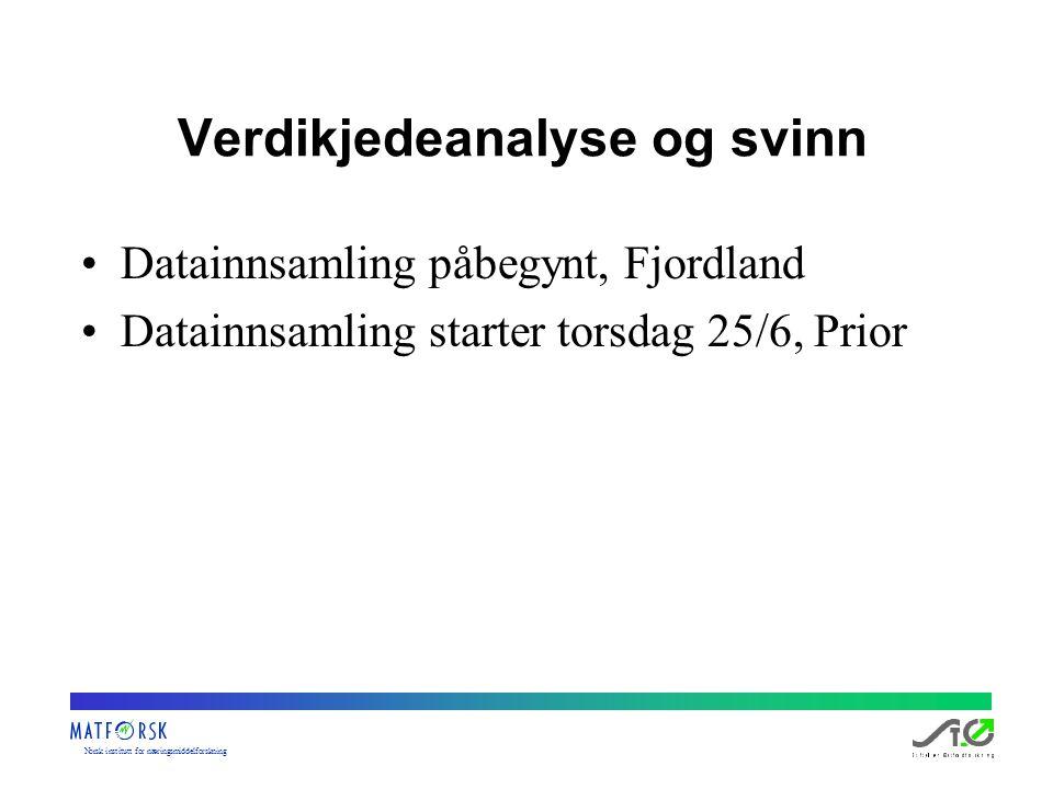Norskinstituttfornæringsmiddelforskning Verdikjedeanalyse og svinn Datainnsamling påbegynt, Fjordland Datainnsamling starter torsdag 25/6, Prior