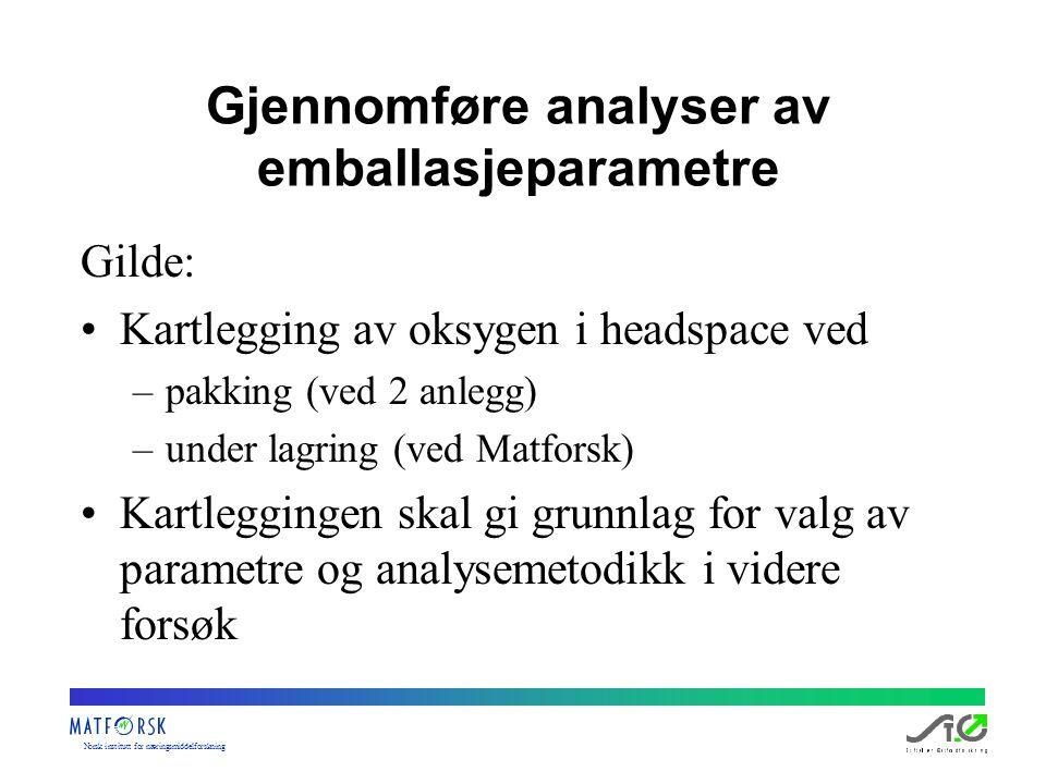 Norskinstituttfornæringsmiddelforskning Gjennomføre analyser av emballasjeparametre Gilde: Kartlegging av oksygen i headspace ved –pakking (ved 2 anle