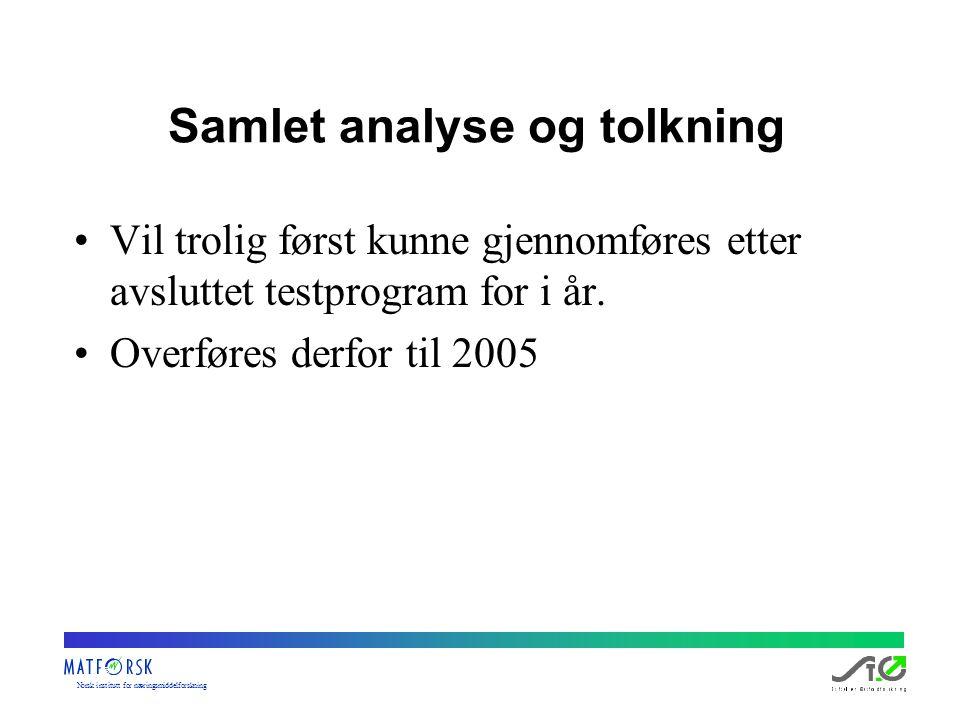 Norskinstituttfornæringsmiddelforskning Samlet analyse og tolkning Vil trolig først kunne gjennomføres etter avsluttet testprogram for i år. Overføres
