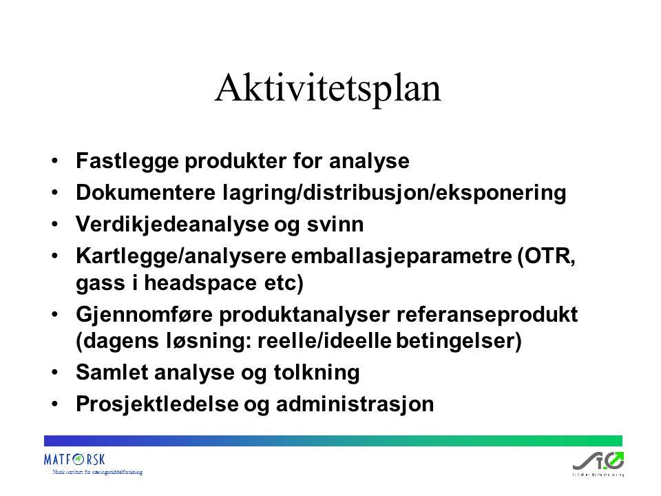Norskinstituttfornæringsmiddelforskning Aktivitetsplan Fastlegge produkter for analyse Dokumentere lagring/distribusjon/eksponering Verdikjedeanalyse