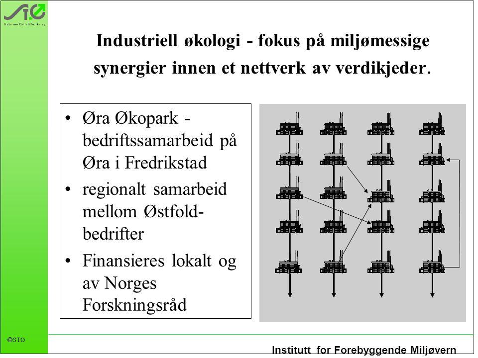 Institutt for Forebyggende Miljøvern  STØ Industriell økologi - fokus på miljømessige synergier innen et nettverk av verdikjeder. Øra Økopark - bedri