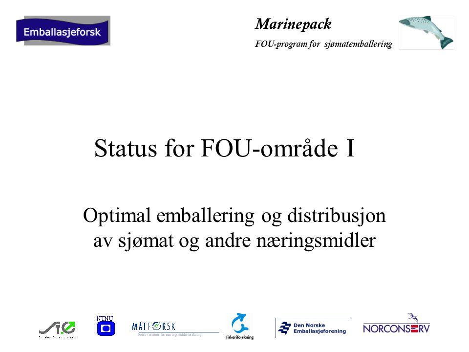 Marinepack FOU-program for sjømatemballering Status for FOU-område I Optimal emballering og distribusjon av sjømat og andre næringsmidler
