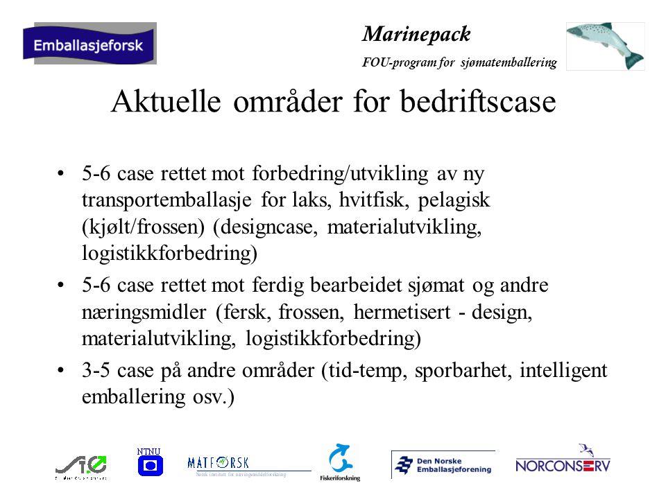 Marinepack FOU-program for sjømatemballering Aktuelle områder for bedriftscase 5-6 case rettet mot forbedring/utvikling av ny transportemballasje for laks, hvitfisk, pelagisk (kjølt/frossen) (designcase, materialutvikling, logistikkforbedring) 5-6 case rettet mot ferdig bearbeidet sjømat og andre næringsmidler (fersk, frossen, hermetisert - design, materialutvikling, logistikkforbedring) 3-5 case på andre områder (tid-temp, sporbarhet, intelligent emballering osv.)