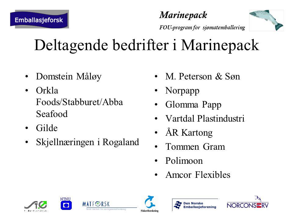 Marinepack FOU-program for sjømatemballering Deltagende bedrifter i Marinepack Domstein Måløy Orkla Foods/Stabburet/Abba Seafood Gilde Skjellnæringen i Rogaland M.
