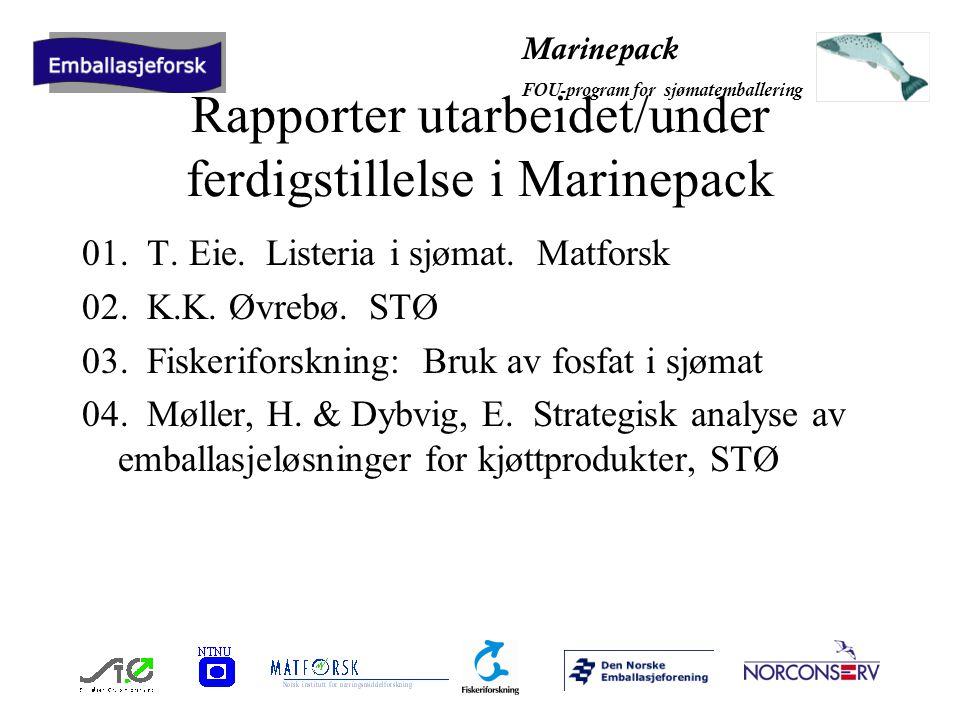Marinepack FOU-program for sjømatemballering Fire FOU-temaer innenfor område I 1.