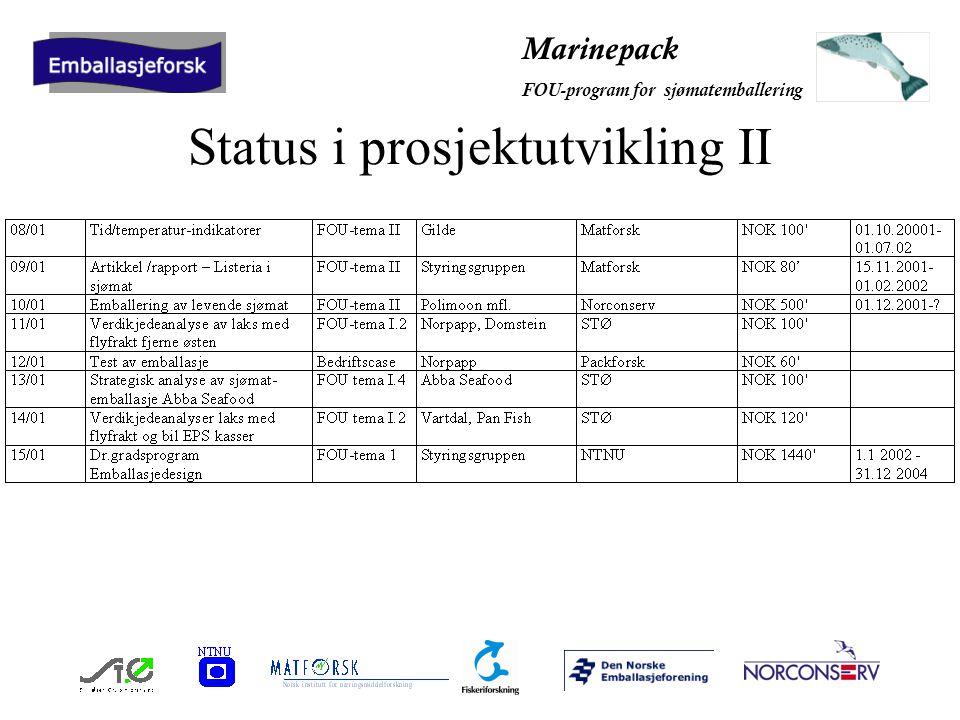 Marinepack FOU-program for sjømatemballering Status kostnader per 31.12 2001
