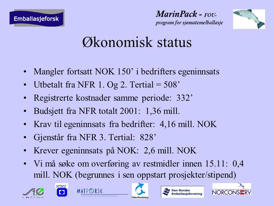 MarinPack - FOU- program for sjømatemelballasje Kommentarer fra NFR NFR må ha oversikt over alle alle timer som føres i prosjektet fra bedrifter på navn/timepris Alle utgifter over NOK 50' skal dokumenteres NFR dekker kun utgifter til FOU-innsats, og ikke næringslivets/bransjeforeningers innsats Spørsmål om Norconserv er FOU-institutt.