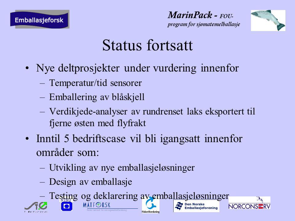 MarinPack - FOU- program for sjømatemelballasje Handlingsplan 2002 Prosjektledelse Rekruttere 5 nye sjømat/matprodusenter Levere rapporter til NFR hvert 3.