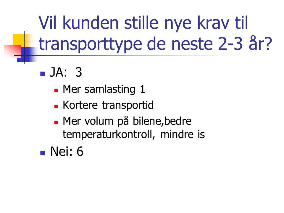Vil kunden stille nye krav til transporttype de neste 2-3 år.