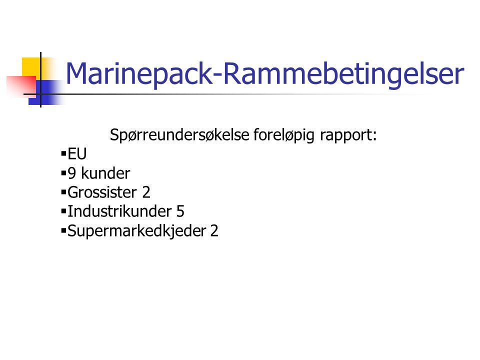 Marinepack-Rammebetingelser Spørreundersøkelse foreløpig rapport:  EU  9 kunder  Grossister 2  Industrikunder 5  Supermarkedkjeder 2