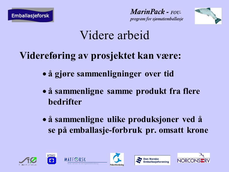 MarinPack - FOU- program for sjømatemballasje Videre arbeid Videreføring av prosjektet kan være:  å gjøre sammenligninger over tid  å sammenligne samme produkt fra flere bedrifter  å sammenligne ulike produksjoner ved å se på emballasje-forbruk pr.