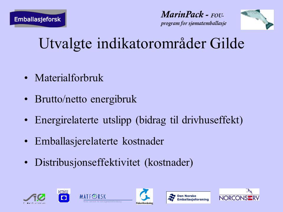 MarinPack - FOU- program for sjømatemballasje Utvalgte indikatorområder Gilde Materialforbruk Brutto/netto energibruk Energirelaterte utslipp (bidrag til drivhuseffekt) Emballasjerelaterte kostnader Distribusjonseffektivitet (kostnader)