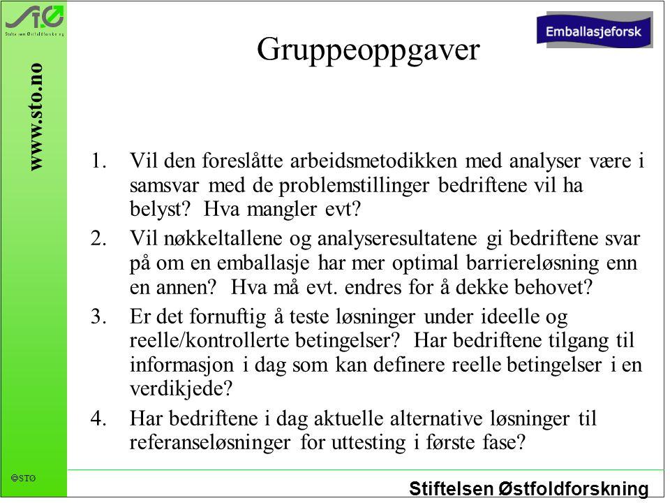 Stiftelsen Østfoldforskning  STØ www.sto.no Gruppeoppgaver 1.Vil den foreslåtte arbeidsmetodikken med analyser være i samsvar med de problemstillinge