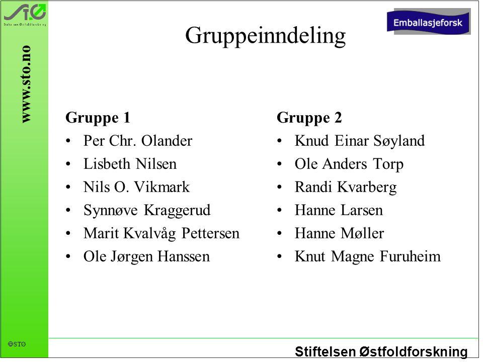 Stiftelsen Østfoldforskning  STØ www.sto.no Gruppeinndeling Gruppe 1 Per Chr. Olander Lisbeth Nilsen Nils O. Vikmark Synnøve Kraggerud Marit Kvalvåg