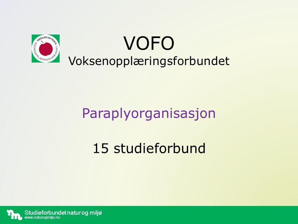 Studieforbundet natur og miljø www.naturogmiljo.no VOFO Voksenopplæringsforbundet Paraplyorganisasjon 15 studieforbund
