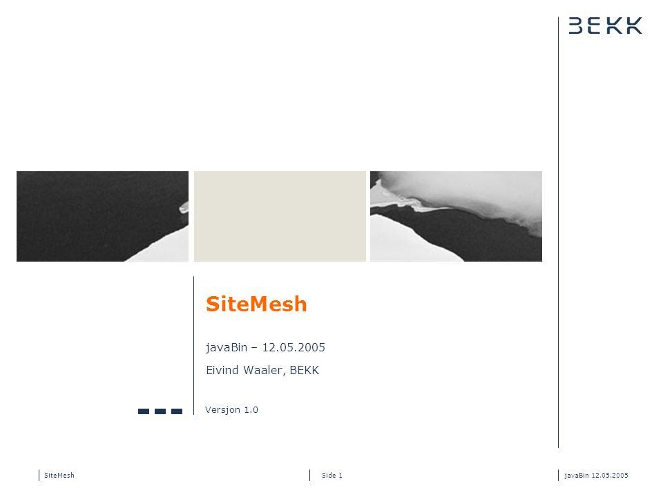 SiteMeshjavaBin 12.05.2005 Side 2 Min bakgrunn Utdanning fra HiST + UiO – 4 år Utvikler/arkitekt hos BEKK – 5 år Java/J2EE bakgrunn – 6 år Mye J2EE webapplikasjoner Hvordan blande Java/HTML?.