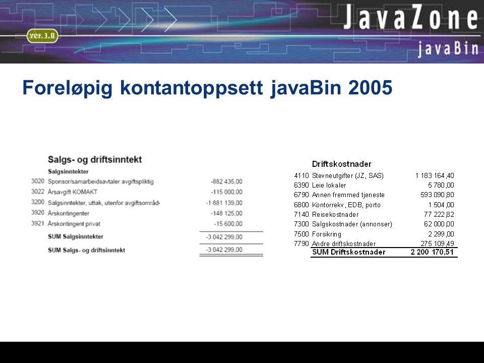 Foreløpig kontantoppsett javaBin 2005