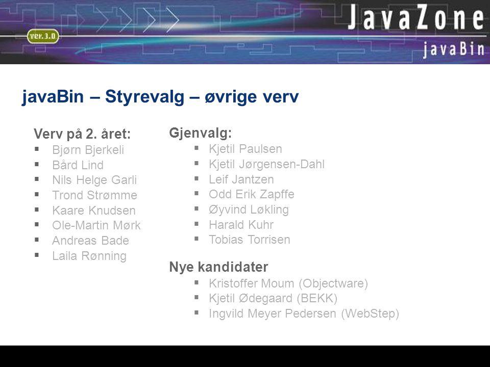 javaBin – Styrevalg – øvrige verv Verv på 2.