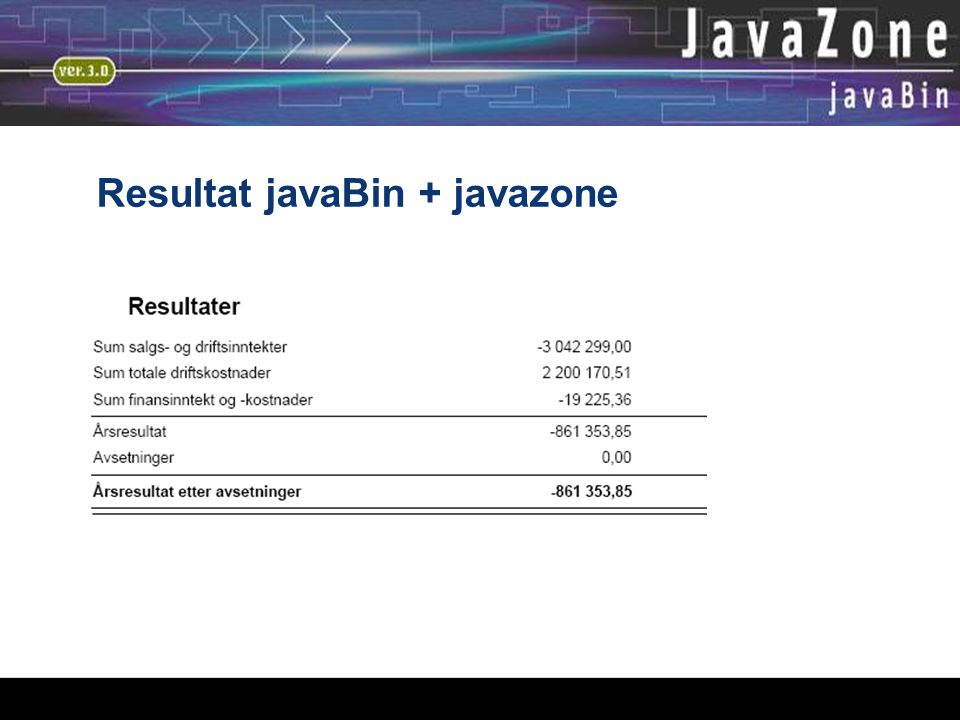 05.01.06 Resultat javaBin + javazone