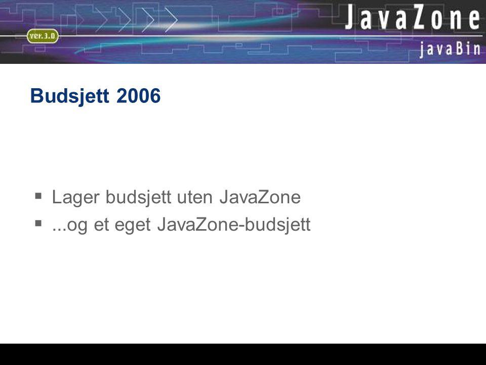 Budsjett 2006  Lager budsjett uten JavaZone ...og et eget JavaZone-budsjett