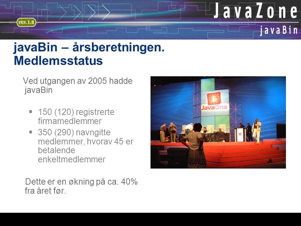 javaBin – årsberetningen. Medlemsstatus Ved utgangen av 2005 hadde javaBin  150 (120) registrerte firmamedlemmer  350 (290) navngitte medlemmer, hvo