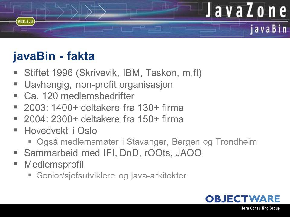 javaBin - fakta  Stiftet 1996 (Skrivevik, IBM, Taskon, m.fl)  Uavhengig, non-profit organisasjon  Ca.