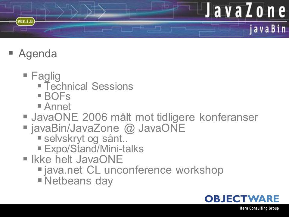 08.06.05  Agenda  Faglig  Technical Sessions  BOFs  Annet  JavaONE 2006 målt mot tidligere konferanser  javaBin/JavaZone @ JavaONE  selvskryt og sånt..