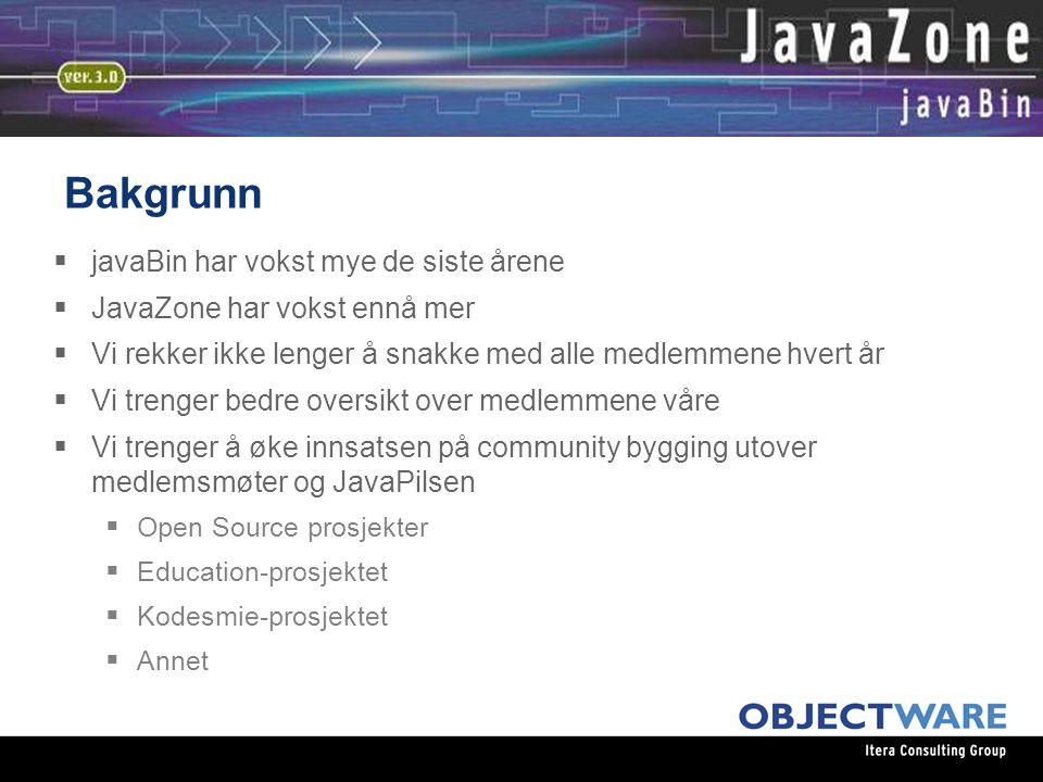 08.06.05 Bakgrunn  javaBin har vokst mye de siste årene  JavaZone har vokst ennå mer  Vi rekker ikke lenger å snakke med alle medlemmene hvert år  Vi trenger bedre oversikt over medlemmene våre  Vi trenger å øke innsatsen på community bygging utover medlemsmøter og JavaPilsen  Open Source prosjekter  Education-prosjektet  Kodesmie-prosjektet  Annet