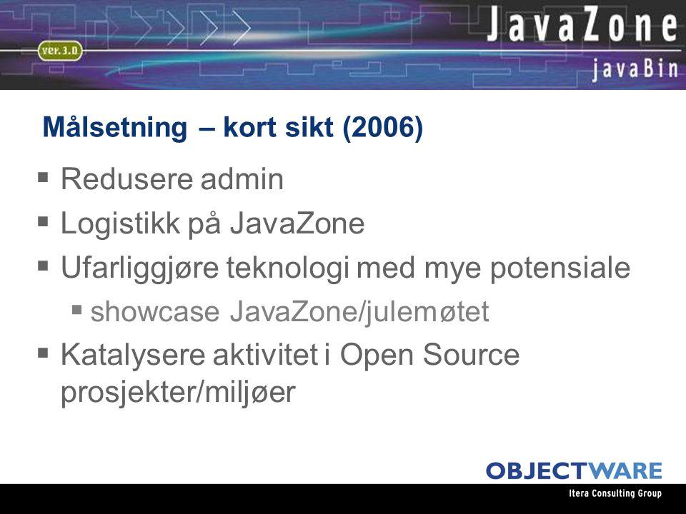08.06.05 Målsetning – kort sikt (2006)  Redusere admin  Logistikk på JavaZone  Ufarliggjøre teknologi med mye potensiale  showcase JavaZone/julemøtet  Katalysere aktivitet i Open Source prosjekter/miljøer