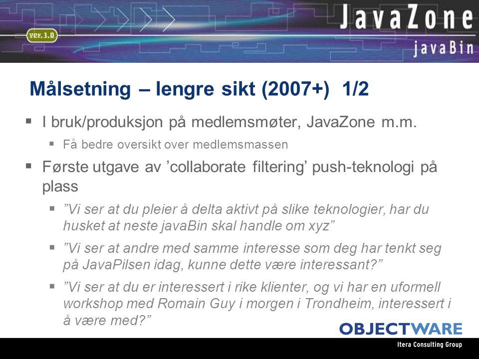 08.06.05 Målsetning – lengre sikt (2007+) 1/2  I bruk/produksjon på medlemsmøter, JavaZone m.m.  Få bedre oversikt over medlemsmassen  Første utgav