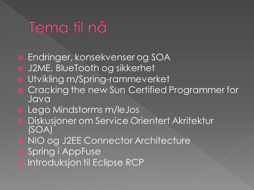  Introduksjon til AOP  JGroups  Maven 1/2 og Continuum  J2SE 5.0 Tiger  Tuplespace teknologi og Java 3D  Hvordan migrere til J2SE 5.0  Testdrevet utvikling (TDD)  Scripting in Java 6  Emnekart i Bergen kommune  Java Content Repository – JSR 170