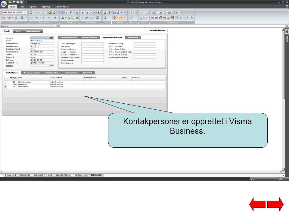 Kontakpersoner er opprettet i Visma Business.