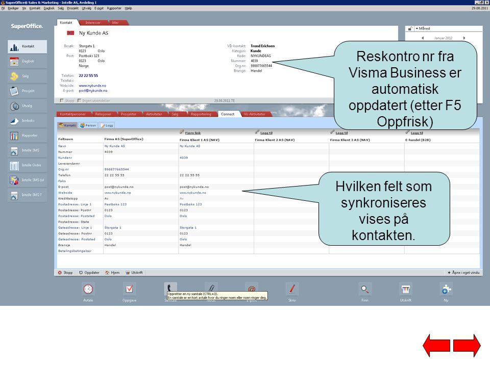 I Visma Business er kunden opprettet med riktige opplysninger.