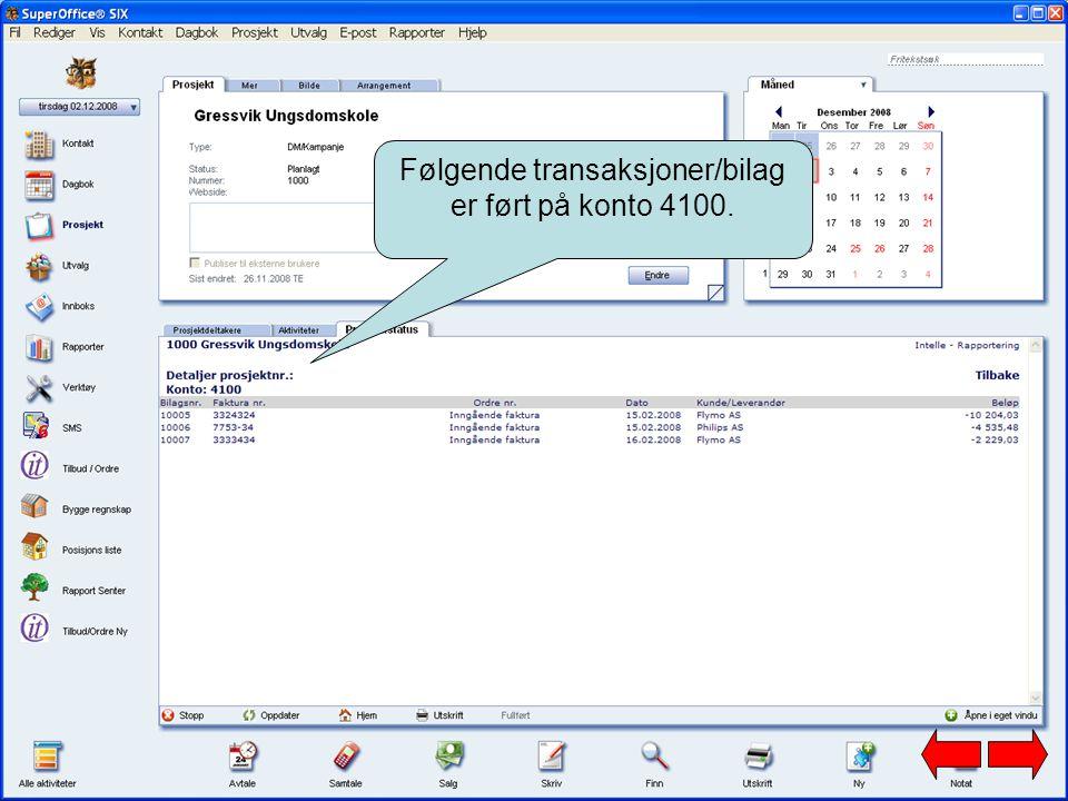 Følgende transaksjoner/bilag er ført på konto 4100.