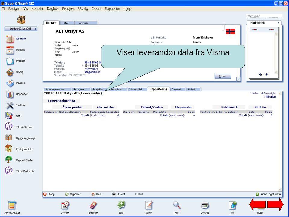 Viser leverandør data fra Visma