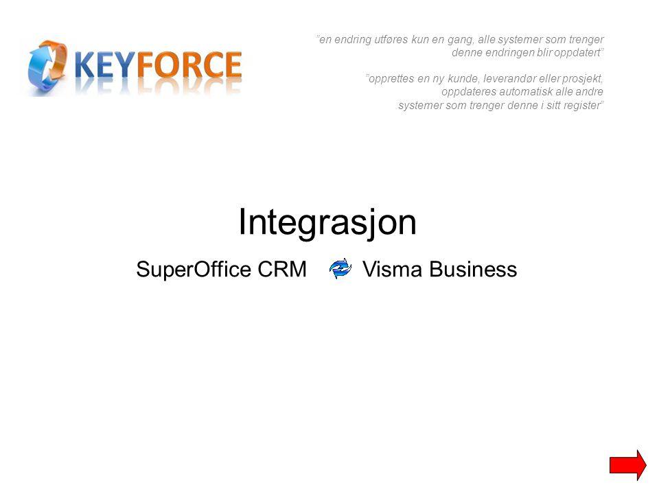 Integrasjon SuperOffice CRM Visma Business en endring utføres kun en gang, alle systemer som trenger denne endringen blir oppdatert opprettes en ny kunde, leverandør eller prosjekt, oppdateres automatisk alle andre systemer som trenger denne i sitt register