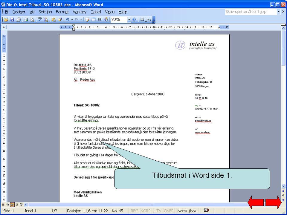 Tilbudsmal i Word side 1.