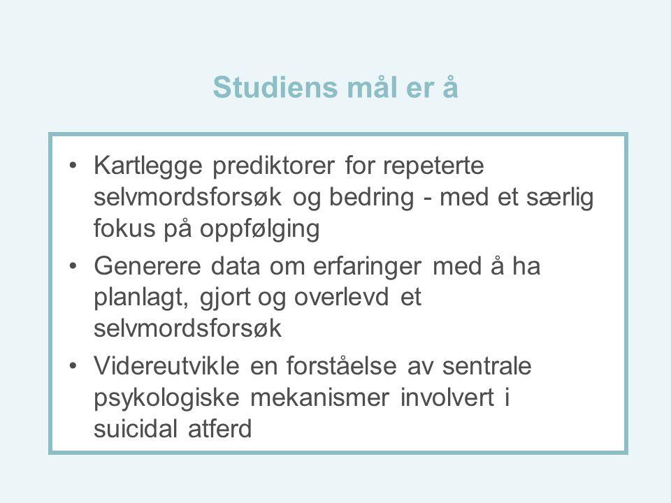 Studiens mål er å Kartlegge prediktorer for repeterte selvmordsforsøk og bedring - med et særlig fokus på oppfølging Generere data om erfaringer med å ha planlagt, gjort og overlevd et selvmordsforsøk Videreutvikle en forståelse av sentrale psykologiske mekanismer involvert i suicidal atferd