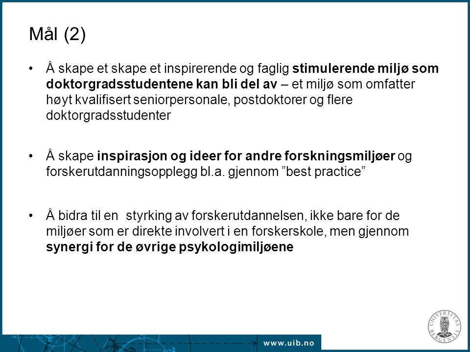 Europeisk perspektiv (2) EURON –Samarbeid mellom ti universitetet om forskerutdanning innenfor nevrovitenskap –Kandidatene må ta kurs/oppholder seg ved mer enn en institusjon –Samarbeidet forankret på institusjonsnivå –Diplom fra eget universitet pluss eget EURON-diplom (med krav om bl.a.