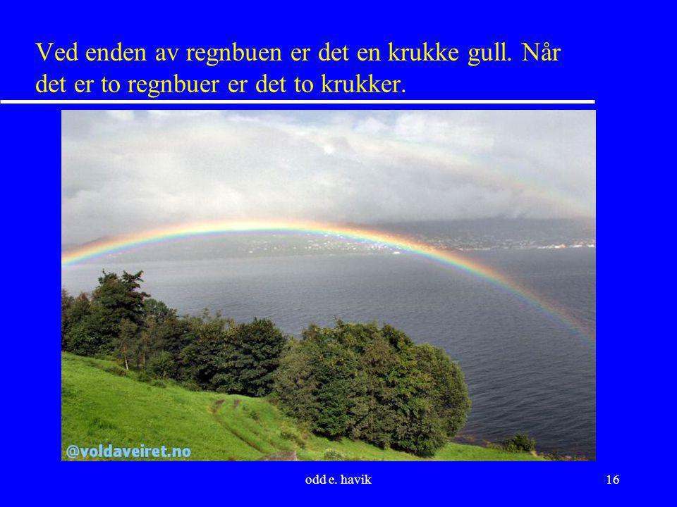 odd e. havik16 Ved enden av regnbuen er det en krukke gull. Når det er to regnbuer er det to krukker.