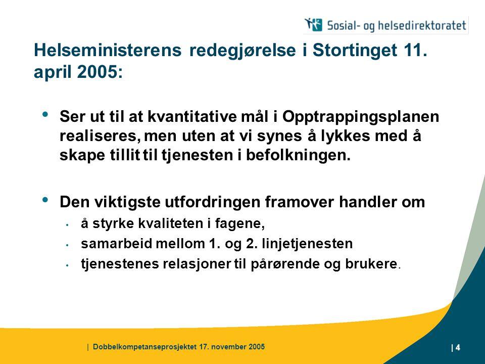 | Dobbelkompetanseprosjektet 17. november 2005 | 4 Helseministerens redegjørelse i Stortinget 11.
