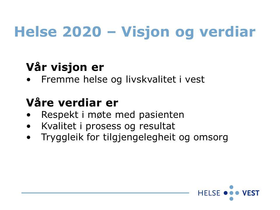 Helse 2020 – Visjon og verdiar Vår visjon er Fremme helse og livskvalitet i vest Våre verdiar er Respekt i møte med pasienten Kvalitet i prosess og resultat Tryggleik for tilgjengelegheit og omsorg