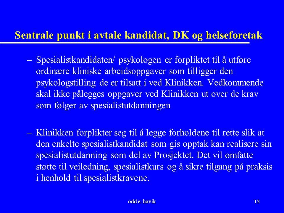 odd e. havik13 Sentrale punkt i avtale kandidat, DK og helseforetak –Spesialistkandidaten/ psykologen er forpliktet til å utføre ordinære kliniske arb