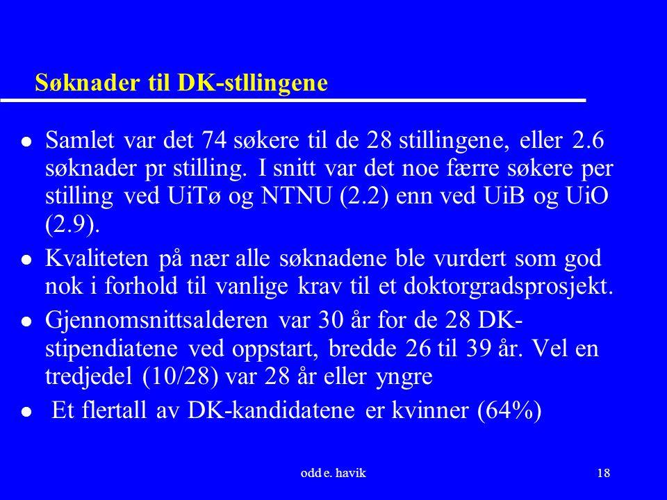odd e. havik18 Søknader til DK-stllingene l Samlet var det 74 søkere til de 28 stillingene, eller 2.6 søknader pr stilling. I snitt var det noe færre