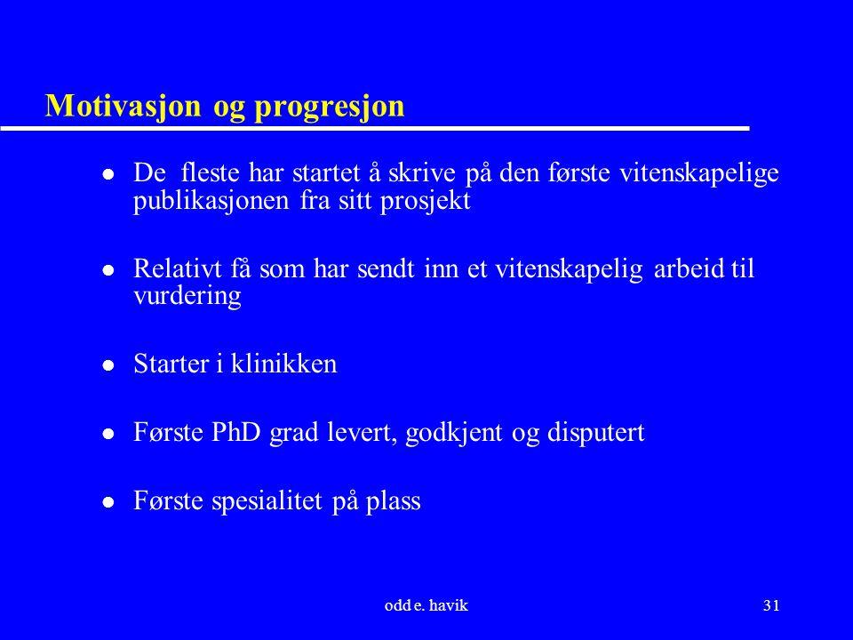 odd e. havik31 Motivasjon og progresjon l De fleste har startet å skrive på den første vitenskapelige publikasjonen fra sitt prosjekt l Relativt få so