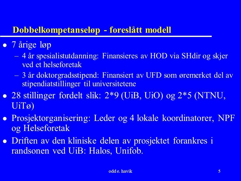 odd e. havik5 Dobbelkompetanseløp - foreslått modell l 7 årige løp –4 år spesialistutdanning: Finansieres av HOD via SHdir og skjer ved et helseforeta